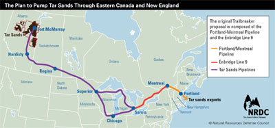 Tar sands pipeline New England route